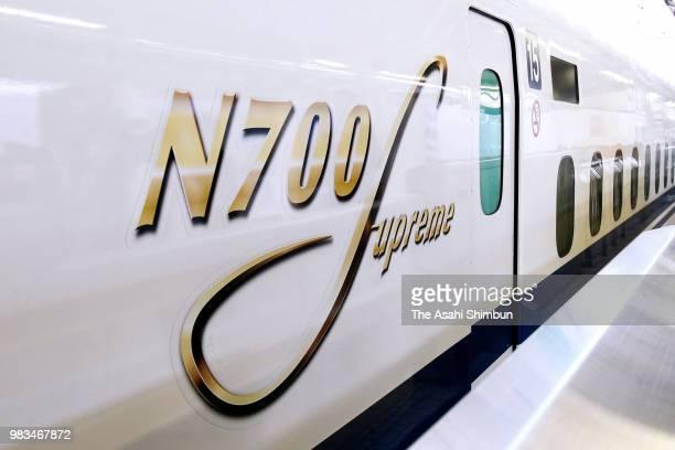 Tokai's new Shinkansen bullet train type 'N700S' is seen at Tokyo Station as the test run begins on June 23 2018 in Tokyo Japan