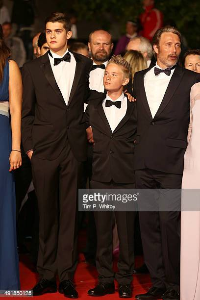 Toke Lars Bjarke and Mads Mikkelsen attend the The Salvation premiere during the 67th Annual Cannes Film Festival on May 17 2014 in Cannes France