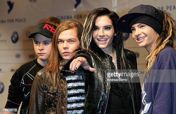 'Tokio Hotel' band member Georg Listing Gustav Schaefer Bill Kaulitz and Tom Kaulitz attend the Cinema for Peace Charity Gala on 12 February 2007 in...