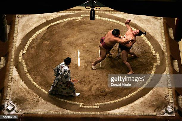 Tokitenku of Mongolia and Chiyotaikai of Japan slap each other as they wrestle under the Dohyo as the Gyoji officiates during the Grand Sumo...