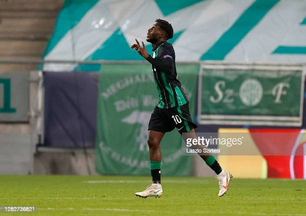 Tokmac Chol Nguen of Ferencvarosi TC celebrates his goal during the UEFA Champions League Group stage match between Ferencvarosi TC and FC Dynamo...