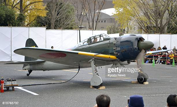 Tokorozawa Japan Photo taken on Dec 1 shows a Japanese Zero fighter seized by the US military during World War II with its engine running at an...