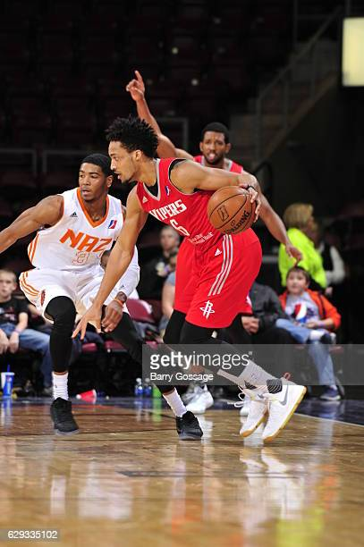 Tokoto of the Rio Grande Valley Vipers drives against Shaquille Harrison of the Northern Arizona Suns on December 9 at Prescott Valley Event Center...