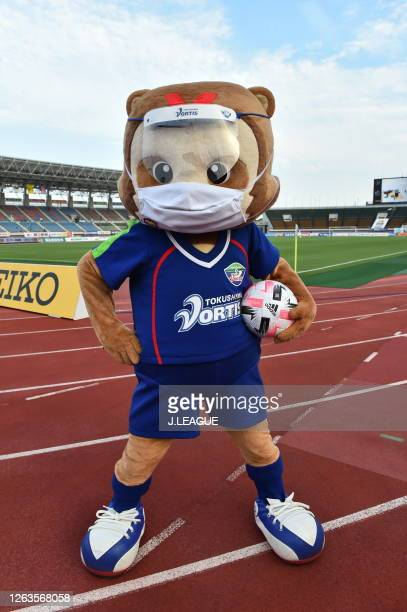 Tokushima Vortis mascot Vorta-kun wearing a face mask and faec shield is seen prior to the J.League Meiji Yasuda J2 match between Tokushima Vortis...