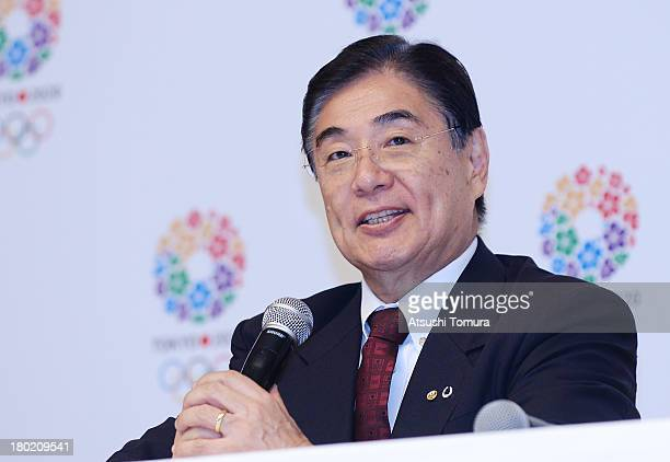 Tokyo 2020 CEO Masato Mizuno talks to the media during Tokyo 2020 Bid Committee's press conference upon returning back from Buenos Aires at the Tokyo...