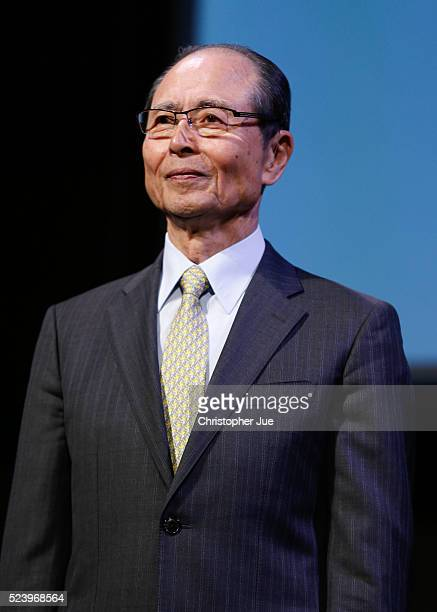 Tokyo 2020 Emblems Selection Committee Member Sadaharu Oh attends the 2020 Olympic/Paralympic Games Emblems unveiling ceremony on April 25 2016 in...