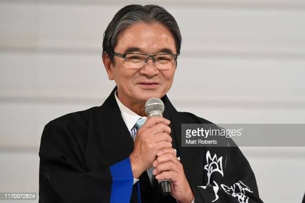 Tokyo 2020 games victory medals design competition panel chairperson Ryohei Miyata speaks on stage during the Count Down Ceremony of the Tokyo 2020...
