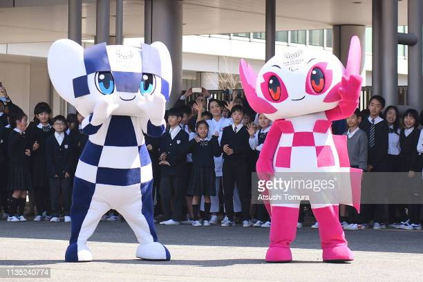 Tokyo 2020 mascots Miraitowa and Someity attend the Tokyo 2020 caravan bus departure event at the Panasonic Center Tokyo on March 12 2019 in Tokyo...
