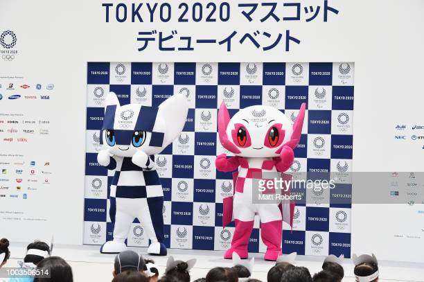 Daiya Seto speaks on stage during the first appearance of Tokyo 2020 mascots Miraitowa and Someity on July 22 2018 in Tokyo Japan