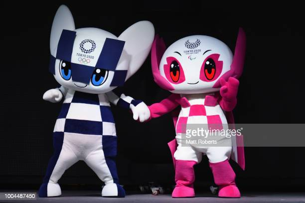 Tokyo 2020 mascots, Miraitowa and Someity on stage during the Tokyo 2020 Olympic Games Two Years To Go Ceremony at Tokyo Skytree on July 24, 2018 in...