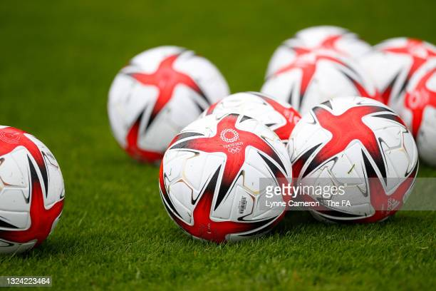 Tokyo 2020 match balls are seen during a training session at the GB Football Camp at Bisham Abbey on June 17, 2021 in Marlow, England.