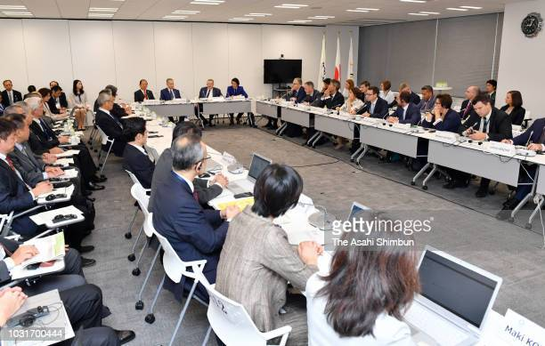 Tokyo 2020 Olympic and Paralympic Committee President Yoshiro Mori and IOC Coordination Committee Chairman John Coates attend the IOC Project Review...