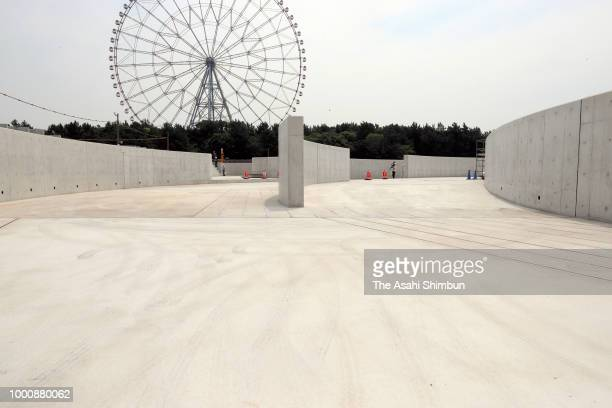 Tokyo 2020 Olympic Aquatics Center is under construction on July 17 2018 in Tokyo Japan