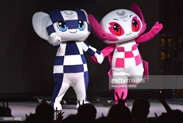 TOPSHOT Tokyo 2020 Olympic Games mascot Miraitowa and Paralympic mascot Someity attend a countdown event on July 24 2018 at Tokyo Skytree Town to...