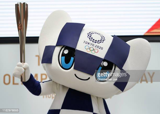 Tokyo 2020 Olympic mascot Miraitowa attends the Tokyo 2020 Torch Relay 300 Days To Go event at the Tokyo Midtown on June 01, 2019 in Tokyo, Japan.