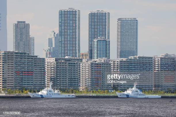 Tokyo 2020 Olympic Village on Harumi Island flanked by Japan Coast Guard ship on day 7 of the Tokyo 2020 Olympic games.