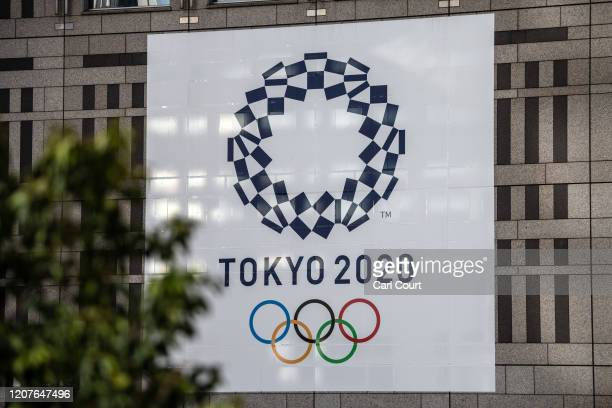 Tokyo 2020 Olympics banner is displayed on a building, on March 19, 2020 in Tokyo, Japan. As Japanese and IOC officials continued to insist that the...