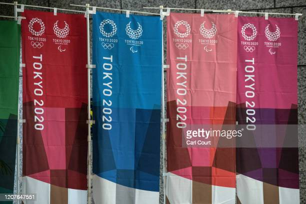 Tokyo 2020 Olympics banners are displayed on March 19, 2020 in Tokyo, Japan. As Japanese and IOC officials continued to insist that the Games would...
