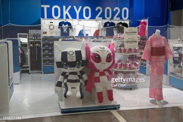 Tokyo 2020 Olympics mascots are displayed in a closed Olympics souvenir shop at Narita Airport on April 17 2020 in Tokyo Japan Narita Airport one of...