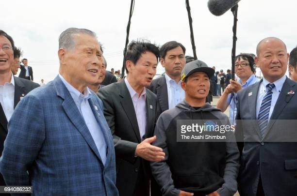 Tokyo 2020 Organising Committee President Yoshiro Mori inspects Tsurugasaki Beach where will be the surfing venue on June 7 2017 in Ichinomiya Chiba...