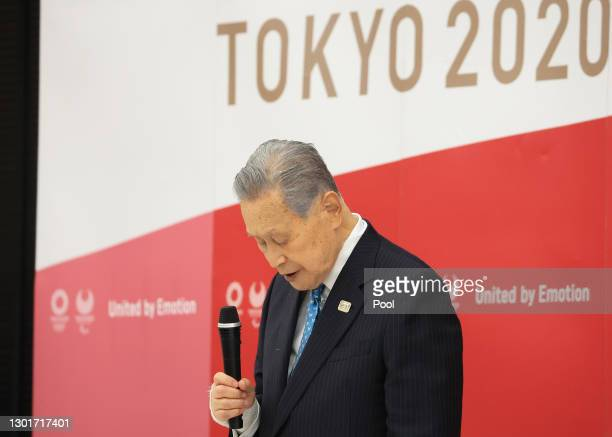 Tokyo 2020 Organising Committee President Yoshiro Mori speaks at the Tokyo 2020 Council and Executive Board meeting on February 12, 2021 in Tokyo,...