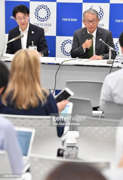 Tokyo 2020 Organising Committee vice director general Yusuke Sakaue and Akira Tanaka attend a press conference on September 12 2018 in Tokyo Japan...