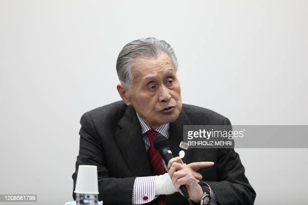 Tokyo 2020 president Yoshiro Mori answers a question during a press conference in Tokyo on March 30 2020 Postponed Tokyo Olympics to open July 23...