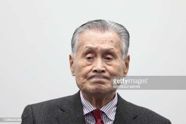 Tokyo 2020 president Yoshiro Mori attends a press conference in Tokyo on March 30 2020 Postponed Tokyo Olympics to open July 23 2021 organisers...