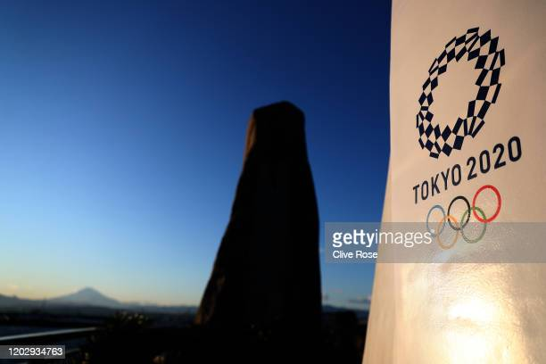Tokyo 2020 signage is seen in Enoshima during the build up to the Tokyo 2020 Olympic Games on January 30 2020 in Fujisawa Kanagawa Prefecture Japan...