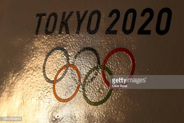 Tokyo 2020 signage is seen in Enoshima during the build up to the Tokyo 2020 Olympic Games on January 30, 2020 in Fujisawa, Kanagawa Prefecture,...