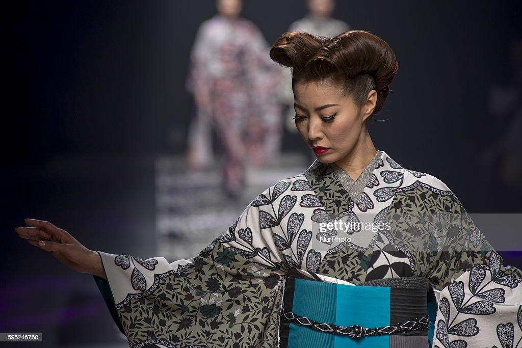 Tokyo A model on the runway during the Jotaro Saito designer of kimono 2016 autumn winter fashion show at the Mercedes-Benz Fashion Week Tokyo on March 16, 2016, Tokyo, Japan