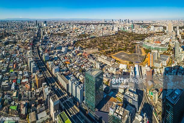 Tokyo Luftbild Stadtansicht auf überfüllten Wolkenkratzer Autobahnen Mount Fuji, Japan