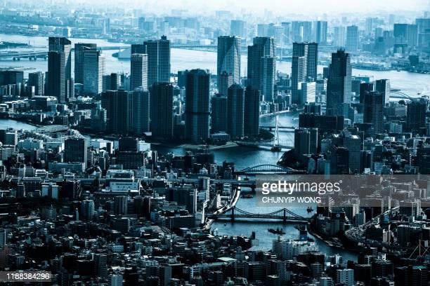 超高層ビルの街並みを横切る東京の空中パノラマ - スモッグ ストックフォトと画像