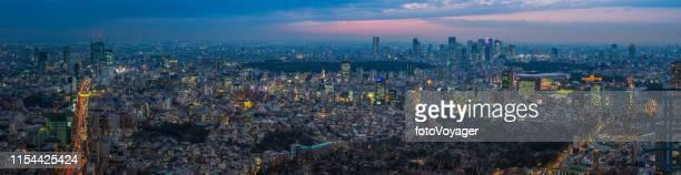 夕暮れの日本で照らされた超高層ビルの街並みに東京の空中パノラマ - 代々木 ストックフォトと画像