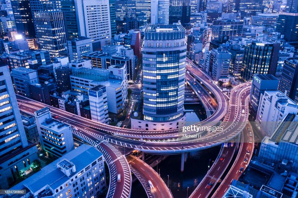 Tokyo aerial view of motorway : Stock Photo