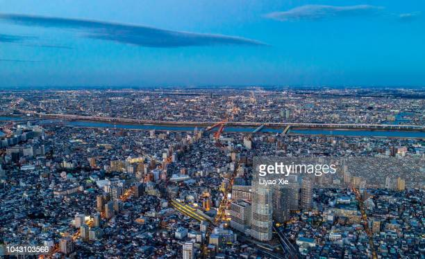 tokyo aerial view - liyao xie stock pictures, royalty-free photos & images