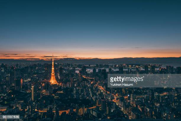 tokyo at dawn - townscape stock pictures, royalty-free photos & images