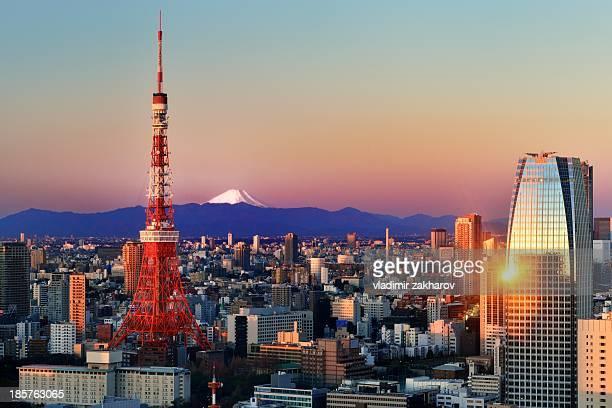 tokyo at sunrise - tóquio - fotografias e filmes do acervo