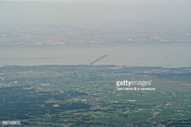 Tokyo Bay and Kisarazu city daytime aerial view from airplane