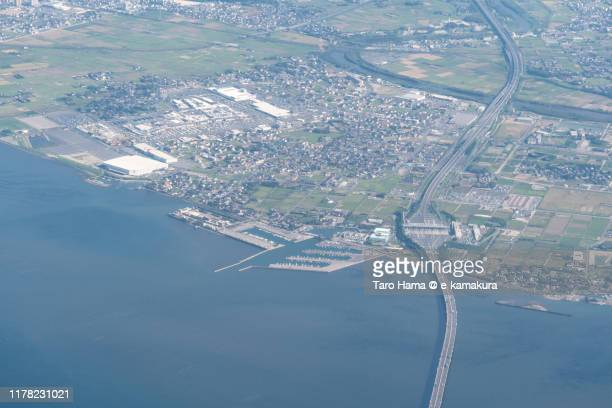 tokyo bay and kisarazu city in chiba prefecture of japan daytime aerial view from airplane - 千葉県 ストックフォトと画像