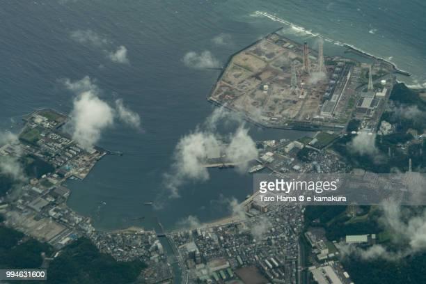 Tokyo Bay and Kurihama Port in Yokosuka city in Japan daytime aerial view from airplane