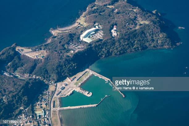 tokyo bay and minamiboso city in chiba prefecture in japan daytime aerial view from airplane - chiba city stock pictures, royalty-free photos & images