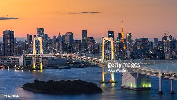 Tokyo bay and Rainbow bridge, Japan