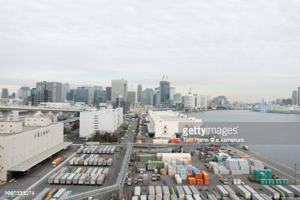 Tokyo Bay and Shibaura Pier in Tokyo in Japan