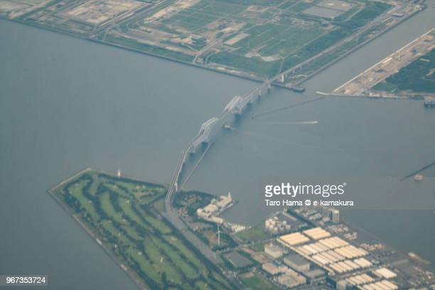 Tokyo Bay and Tokyo Gate Bridge in Japan daytime aerial view from airplane