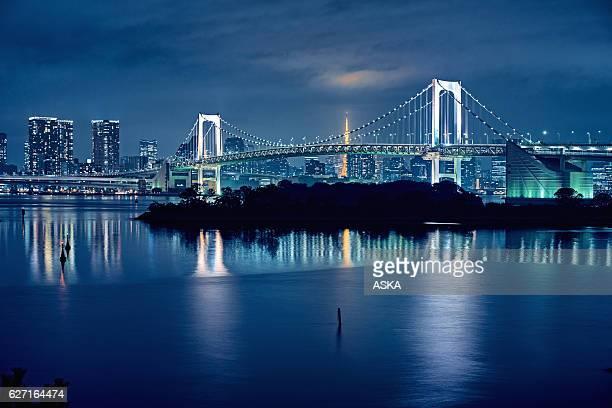 東京湾と東京のレインボーブリッジ