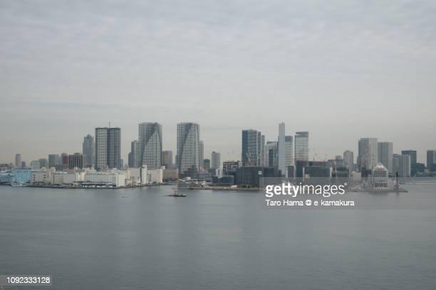 Tokyo Bay and Tsukishima and Harumi in Tokyo in Japan