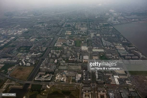 Tokyo Bay and Urayasu city in Chiba prefecture in Japan daytime aerial view from airplane
