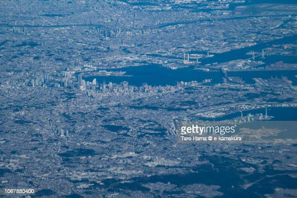 Tokyo Bay and Yokohama city in Kanagawa prefecture in Japan daytime aerial view from airplane