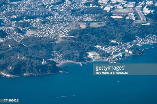 Tokyo Bay and Yokosuka city in Kanagawa prefecture in Japan daytime aerial view from airplane
